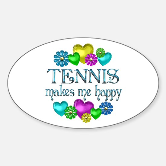 Tennis Happiness Sticker (Oval)