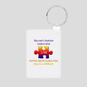 1 in Million (Son w Autism) Alum. Photo Keychain