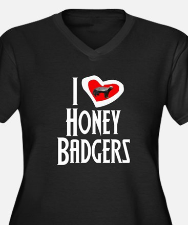 I Love Honey Badgers Women's Plus Size V-Neck Dark