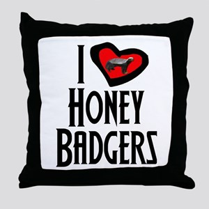 I Love Honey Badgers Throw Pillow