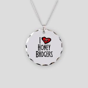 I Love Honey Badgers Necklace Circle Charm