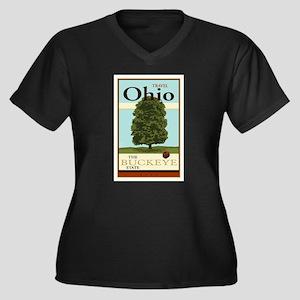 Travel Ohio Women's Plus Size V-Neck Dark T-Shirt