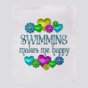 Swimming Happiness Throw Blanket