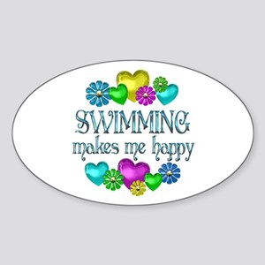 Swimming Happiness Sticker (Oval)