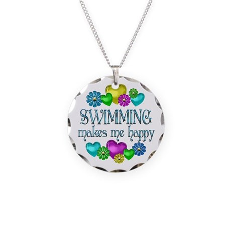 Swimming Happiness Necklace Circle Charm