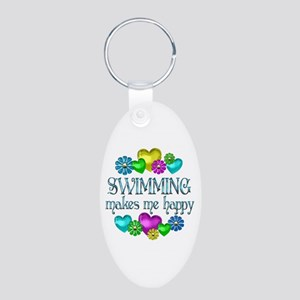 Swimming Happiness Aluminum Oval Keychain