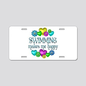 Swimming Happiness Aluminum License Plate