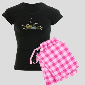 Sock Monkey Scuba Diver Women's Dark Pajamas