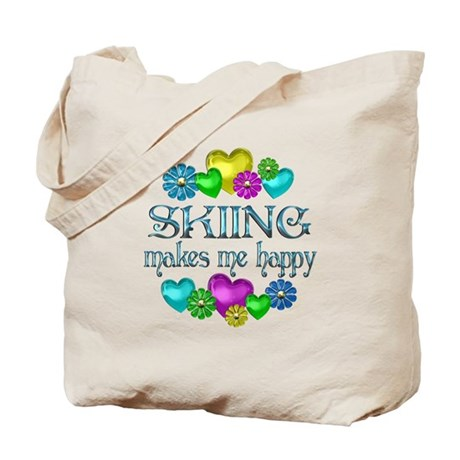 Skiing Happiness Tote Bag