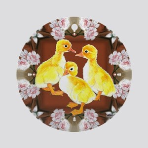 ducklings and Roses Ornament (Round)