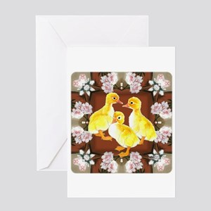 ducklings and Roses Greeting Card