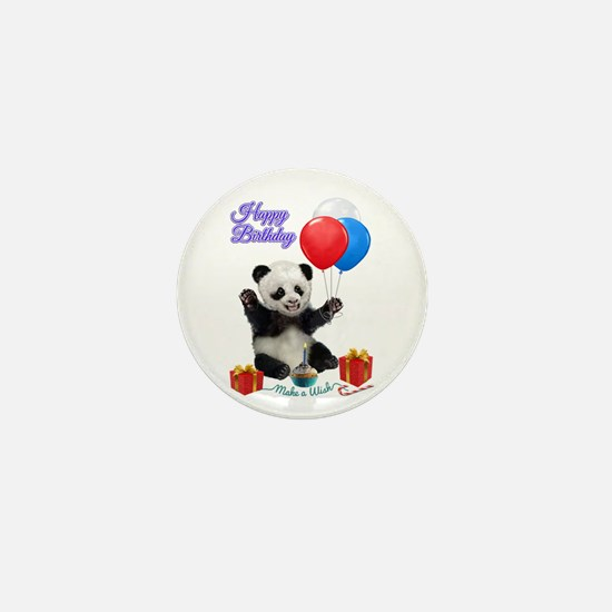 Panda's Happy Birthday Wish Mini Button