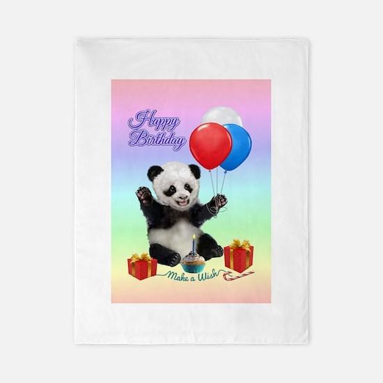 Panda's Happy Birthday Wish Twin Duvet Cover
