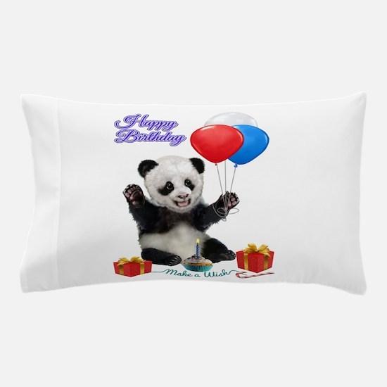 Panda's Happy Birthday Wish Pillow Case