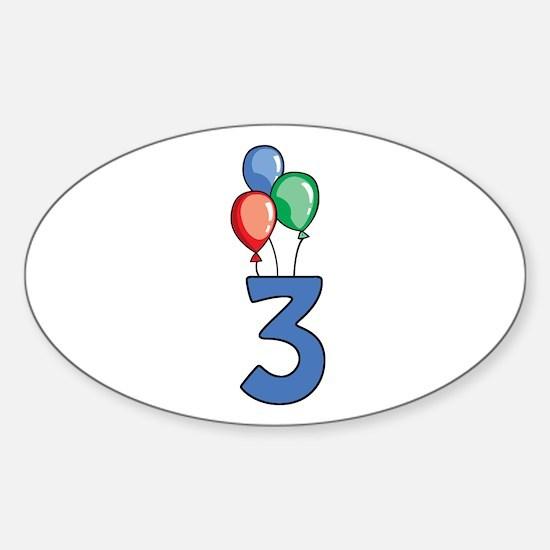 3rd Birthday Balloons Sticker (Oval)