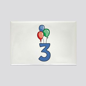 3rd Birthday Balloons Rectangle Magnet