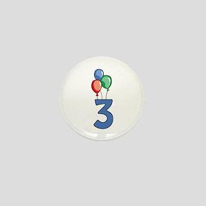 3rd Birthday Balloons Mini Button