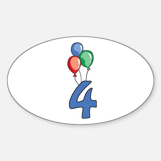 4th Birthday Balloons Sticker (Oval)