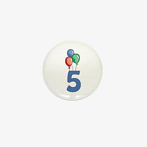 5th Birthday Balloons Mini Button