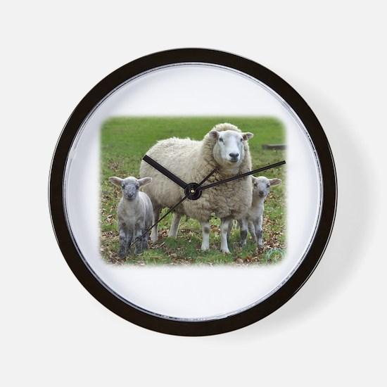 Sheep and Lambs 9R12D-35 Wall Clock