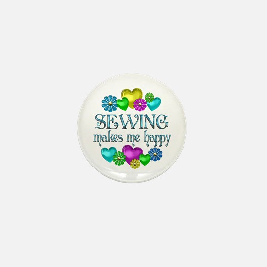 Sewing Happiness Mini Button