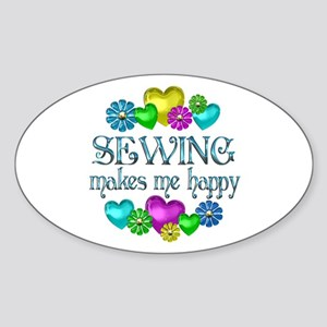 Sewing Happiness Sticker (Oval)