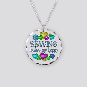 Sewing Happiness Necklace Circle Charm