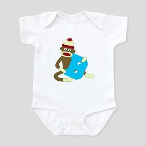 Sock Monkey Monogram Boy B Infant Bodysuit
