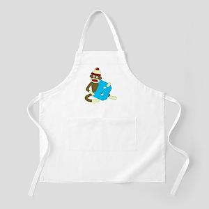Sock Monkey Monogram Boy B Apron
