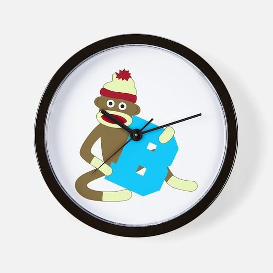 Sock Monkey Monogram Boy B Wall Clock