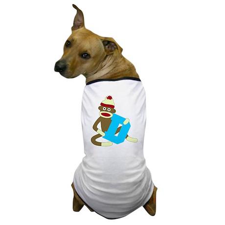 Sock Monkey Monogram Boy D Dog T-Shirt