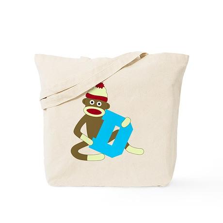 Sock Monkey Monogram Boy D Tote Bag
