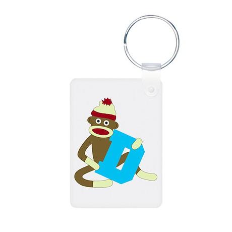 Sock Monkey Monogram Boy D Aluminum Photo Keychain