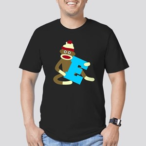 Sock Monkey Monogram Boy E Men's Fitted T-Shirt