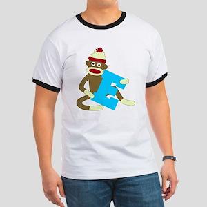 Sock Monkey Monogram Boy E Ringer T-Shirt