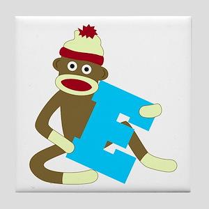 Sock Monkey Monogram Boy E Tile Coaster