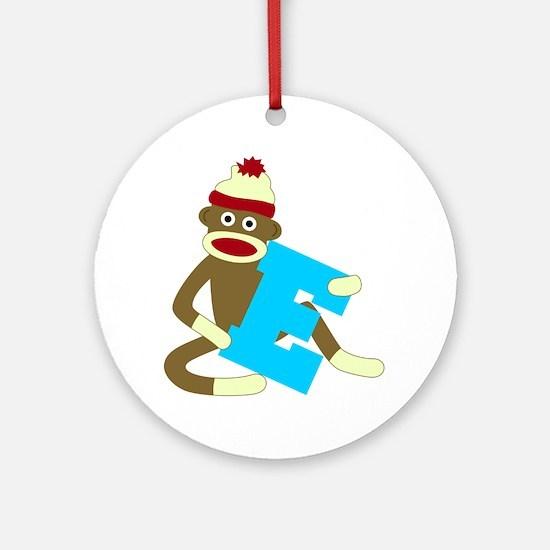 Sock Monkey Monogram Boy E Ornament (Round)