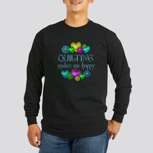 Quilting Happiness Long Sleeve Dark T-Shirt