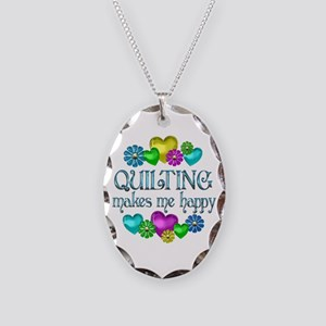 Quilting Happiness Necklace Oval Charm