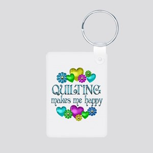 Quilting Happiness Aluminum Photo Keychain