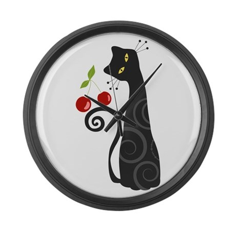 Black Cat with Cherries Large Wall Clock