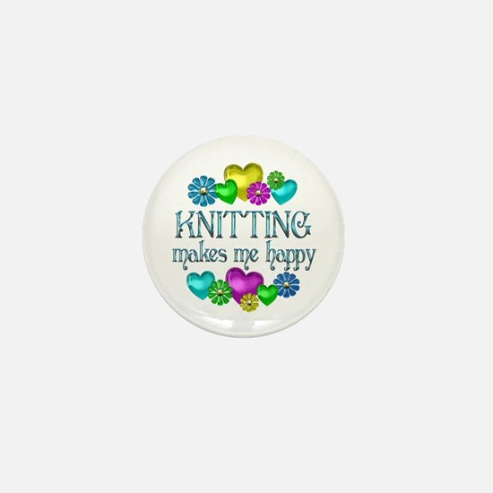 Knitting Happiness Mini Button