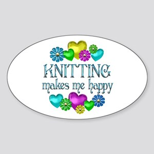 Knitting Happiness Sticker (Oval)