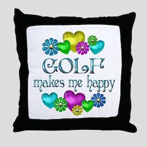 Golf Happiness Throw Pillow