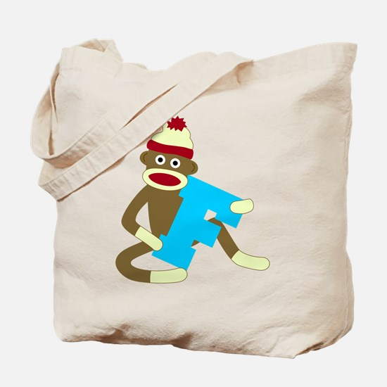 Sock Monkey Monogram Boy F Tote Bag