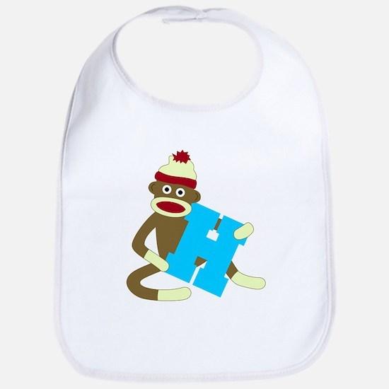 Sock Monkey Monogram Boy H Baby Bib