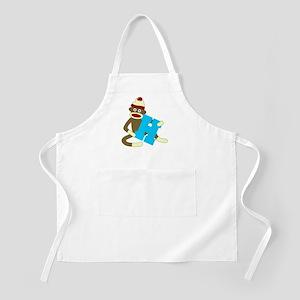 Sock Monkey Monogram Boy H Apron