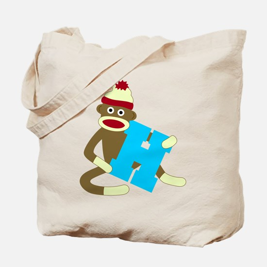 Sock Monkey Monogram Boy H Tote Bag