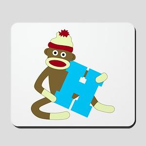 Sock Monkey Monogram Boy H Mousepad