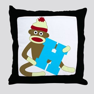 Sock Monkey Monogram Boy H Throw Pillow